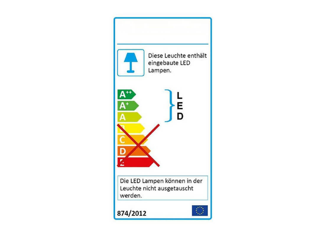 dreieckunterbauleuchten in edelstahl energieeffizienzklasse schild