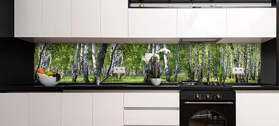 fertige rueckwand in verschiedene materialien mit birkenwald motiv