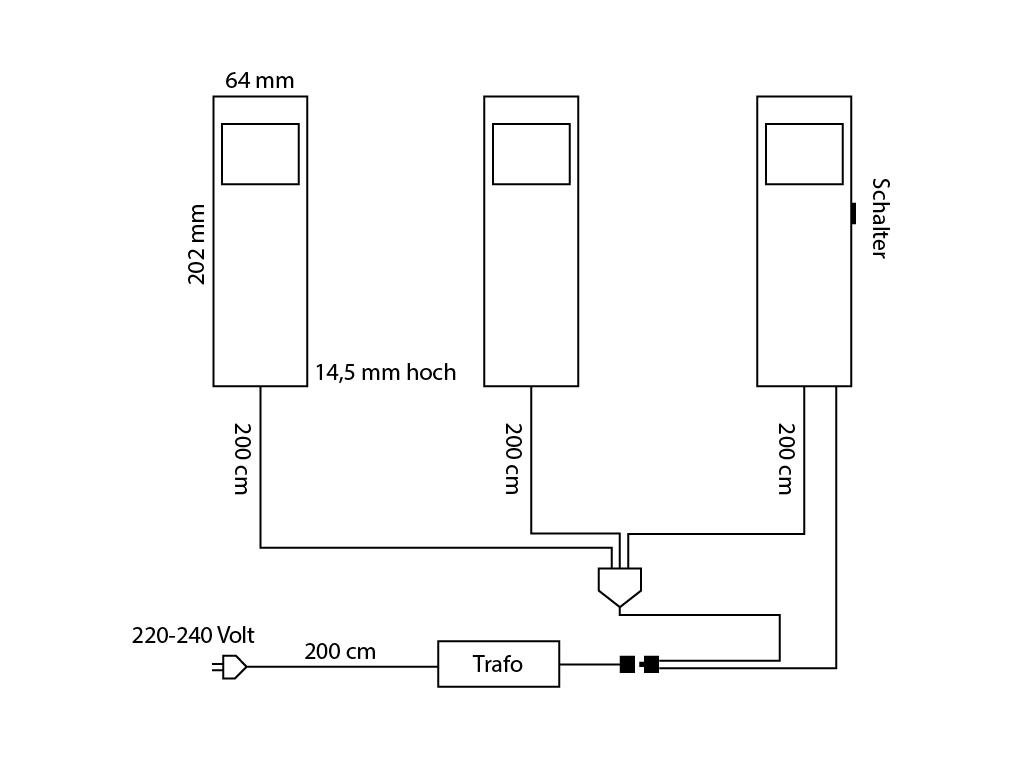 rechteckunterbauleuchten in edelstahl mit zentralschalter produkt diagramm